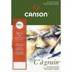 """CANSON Bloc 30 Feuilles Papier Dessin """"C"""" à grain A5 224 g Blanc"""