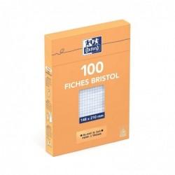 OXFORD Etui distributeur de 100 fiches bristol perforées 210g 14,8x21cm 5x5 blanc