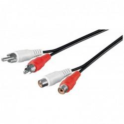 GOOBAY Rallonge Câble Cinch 2 x RCA Mâle/Femelle 1,5 m, noire