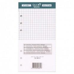 QUO VADIS Recharge Organiseur BLOC-NOTES Timer 17 Blanc Quadrillé 10 x 17 cm
