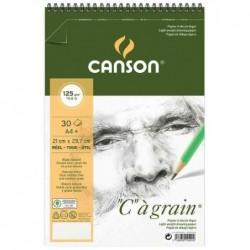 """CANSON Album spiralé 30 Feuilles Papier Dessin """"C"""" à grain A4+ 180g Blanc"""