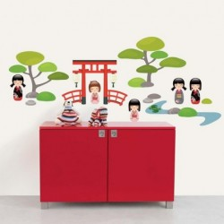 DRAEGER Sticker mural Jardin Japonais vert