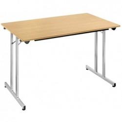 SODEMATUB Table pliante Rectangulaire 1200 x 600 mm Hêtre - Alu