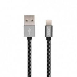 3SIXT Câble de charge et synchro connecteur Apple Lightning Textile 1m Noir