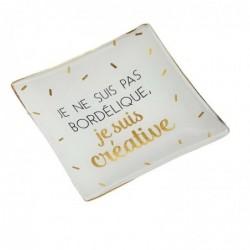 """DRAEGER Vide-poches carré 12cm en verre avec message """"Je Ne Suis Pas Bordélique, Je Suis Créative"""" Blanc"""