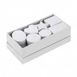 FOLIA Lot de 10 Boîtes en Carton à Décorer Formes Diverses Blanc