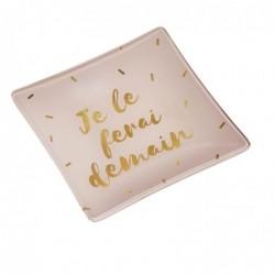 """DRAEGER Vide-poches carré 12cm en verre avec message """"Je Le Ferai Demain"""" Rose pâle"""