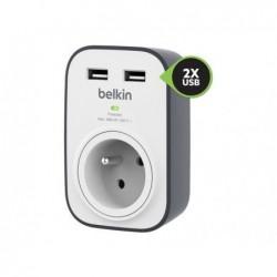 BELKIN Prise parafoudre + 2 ports USB 2.4 ampères Blanc Gris