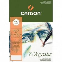 """CANSON Bloc 30 Feuilles Papier Dessin """"C"""" à grain  A4 180 g Blanc Naturel"""