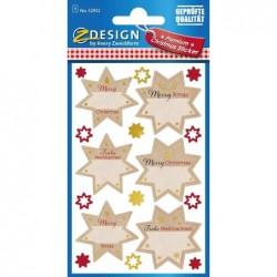 AVERY ZWECKFORM Lot de 18 autocollants de Noël en papier gaufré Motif étoiles Rouge/marron/doré