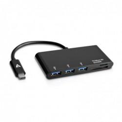 V7 HUB USB-C 5 en 1 3 x USB-C + Lecteur SD Noir