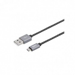 3SIXT Câble de Chargement et de synchronisation Micro USB avec Gaine Textile et connecteurs métalliques 0,3 m