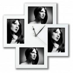 ZEP Horloge Cadre Photo Bergamo blanc 4x13x18 bois