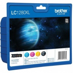 BROTHER Cartouche value pack jet d'encre 4 couleurs MP (1 cyan+1 magenta+1 jaune+1 noir)LC1280XLVALBP