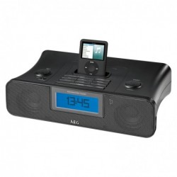 AEG Station d´accueil noire avec radio réveil SRC 4321 pour iPod