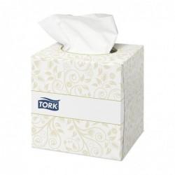 TORK Boîte Cube de 100 Mouchoirs 2 plis ouate extra douche blanche L21 x P20 cm