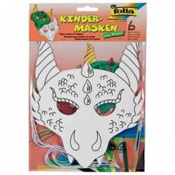 """FOLIA Lot de 6 Masques pour enfants """"dragon"""", en carton, blanc"""