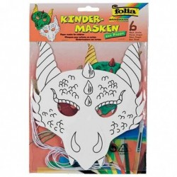 """FOLIA Masques pour enfants """"dragon"""", en carton, blanc"""