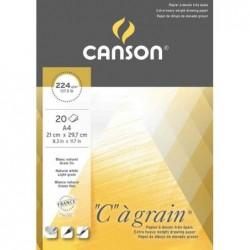 """CANSON Bloc 20 Feuilles Papier Dessin """"C"""" à grain 224 gA4"""