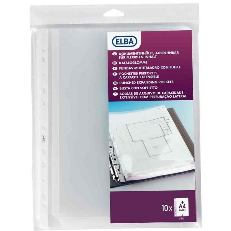 ELBA Sachet de 10 pochettes perforées A4 pour plan sans rabat