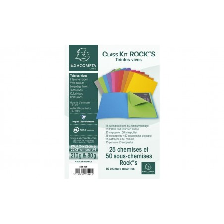 EXACOMPTA Kit de classement class'kit ROCK'S 25 chemise 210 + 50 sous-chemises 80g Ass