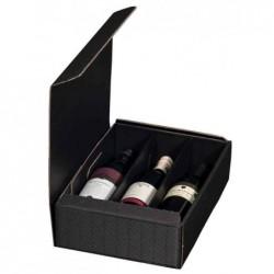 SMARTBOXPRO Coffret cadeau pour 3 bouteilles de vin, noir