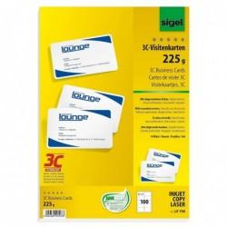 SIGEL Cartes de visite 3C, 85 x 55 mm, 225 g extra blanc, 100 sur 10f