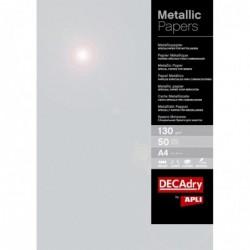 DECADRY Papier de communication Structuré A4 130g 50 feuilles Métallisée Argent