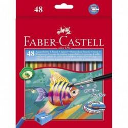 FABER-CASTELL Etui Carton 48x Crayons aquarellables + pinceau