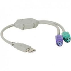 DEXLAN Convertisseur USB - 2  prises Clavier/Souris en PS2 MiniDin6