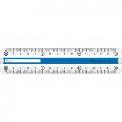 FABER-CASTELL Règle Grip 15 cm Avec Emplacement pour le Nom Coloris Aléatoire Bleu Vert