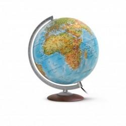 """WONDAY Globe terrestre lumineux 30 cm """"Médium"""" en RELIEF bleu"""