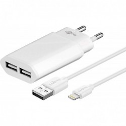 GOOBAY Chargeur double Lightning 2.4 A Blanc 1m