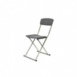 THE HOME DECO FACTORY Chaise Pliable Effet Cuir avec Surpiqure Gris Foncé HD3177