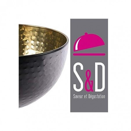 SAVEUR & DÉGUSTATION Saladier Martele Inox Noir Mat Or 19,5 cm