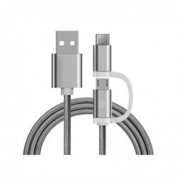 Chargeur 2 en 1 (USB Micro & Type-C) - 1,0 Mètre (Argenté-Nylon)
