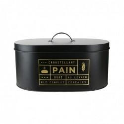LA BOITE A Boîte à Pain Métal Noir Mat et Doré 34,5 x 20 x18,5 cm BT6671