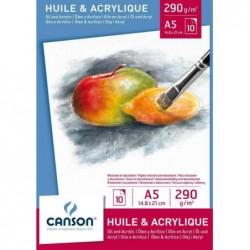 CANSON Bloc huile et acrylique, A4, 290 g/m2, blanc