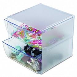 DEFLECTO Système modulable Cube 2 tiroirs en polystyrène L15,2 x H15,2 x P18,2 cm Transparent