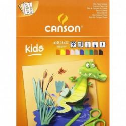 CANSON Bloc 10 Feuilles Papier Couleur KIDS 240 x 320 mm 185 g Assorties