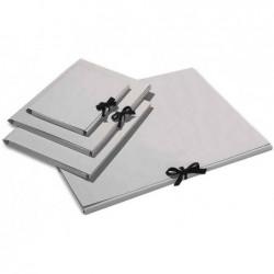 FOLIA Carton à Dessin en Carton 500g 500 x 700 mm Fermeture Ruban Coton Gris