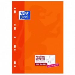 OXFORD Etui Carton Feuillets mobiles 21x29,7cm 200p petits carreaux blancs 90g