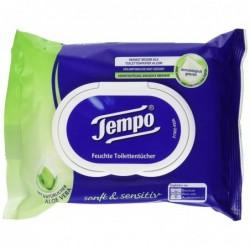 TEMPO Pqt de 42 Lingettes Humides De Toilette Doux & Pure à L' Aloe Vera