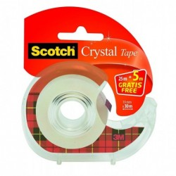 SCOTCH Ruban adhésif Crystal Clear 600 sur Dévidoir 19 mm x 30 m