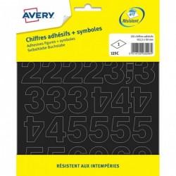 AVERY 201 chiffres adhésifs + symboles - 12,5mm / Noir