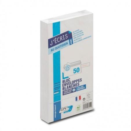 GPV Paquet de 50 enveloppes blanches DL 110x220 90 g  précasées bande de protection