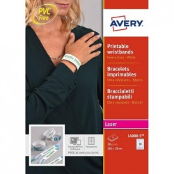 AVERY L4000-5 - 50 bracelets d'identification Laser Blanc 265 x 25 mm