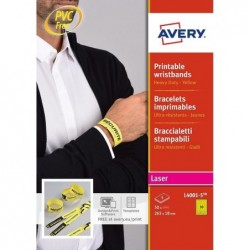 AVERY 50 bracelets d'identification Laser Jaune 265 x 25 mm