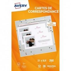 AVERY 36 cartes de correspondance blanches personnalisables à bords lisses 210x99mm