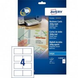 AVERY C32058-25 - 100 cartes de visite Quick&Clean™ doubles recto/verso bords lisses Mat Blanc 260 g/m² 85 x 54 mm jet d'encre